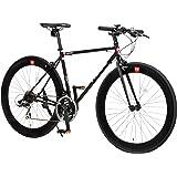 CANOVER(カノーバー) クロスバイク 700C シマノ21段変速 適応身長:160cm以上 CAC-024 (HEBE) ディープリム クロモリフレーム フロントLEDライト付