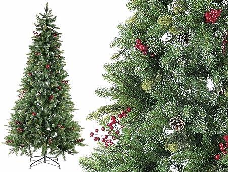 Albero Di Natale Con Pigne.Gruppo Maruccia Albero Di Natale Con Pigne E Bacche 693 Rami Altezza 210 Centimetri Amazon It Casa E Cucina