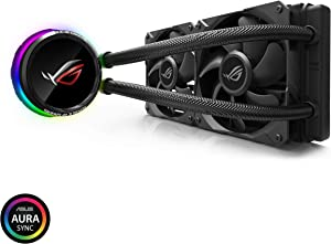 Asus ROG RYUO 240 RGB AIO Liquid CPU Cooler 240mm Radiator Dual 120mm 4-Pin PWM Fan with OLED Panel & Fan Control 1.77""