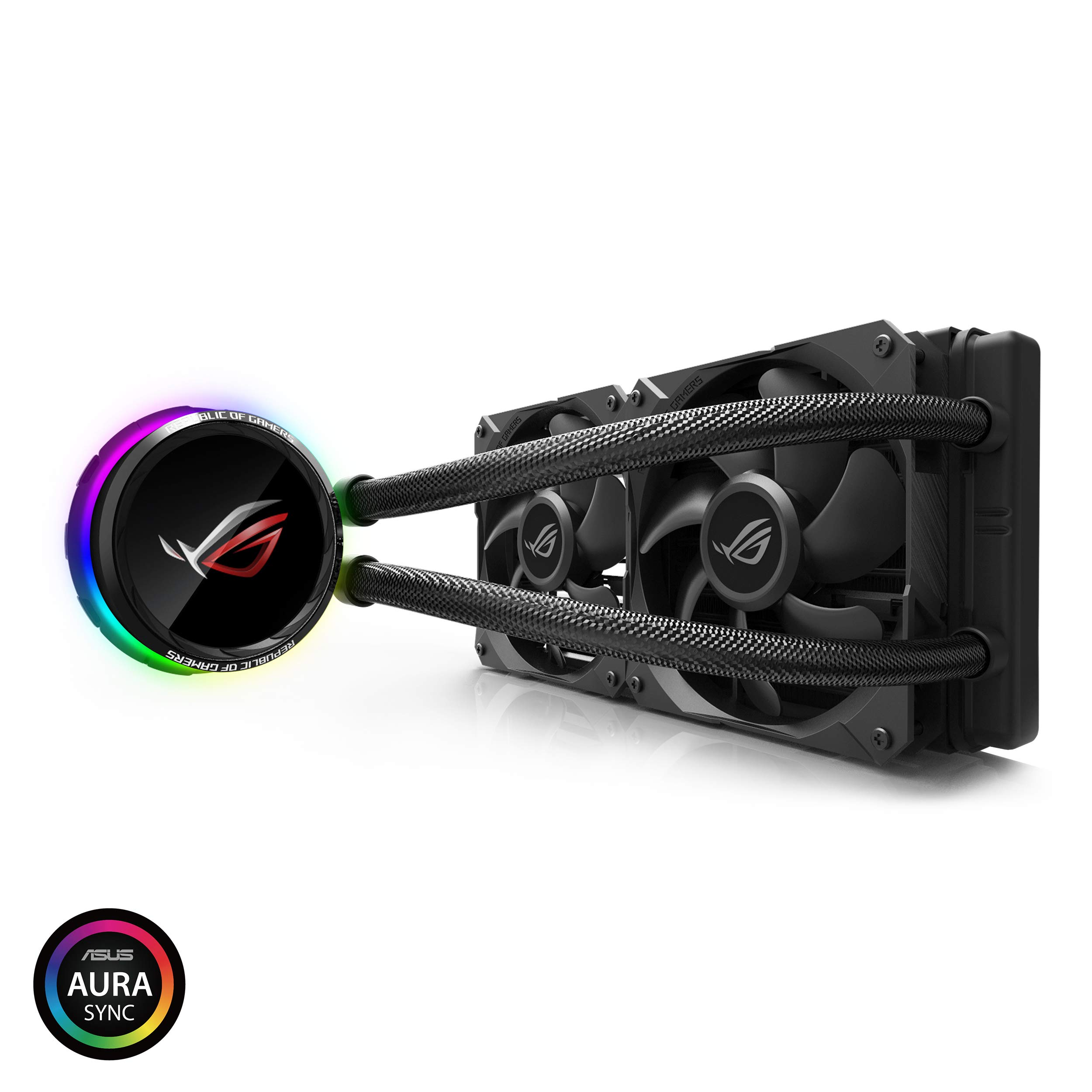ASUS ROG RYUO 240 RGB AIO Liquid CPU Cooler 240mm Radiator Dual 120mm 4-Pin PWM Fan with OLED Panel & Fan Control 1.77'' by ASUS (Image #1)