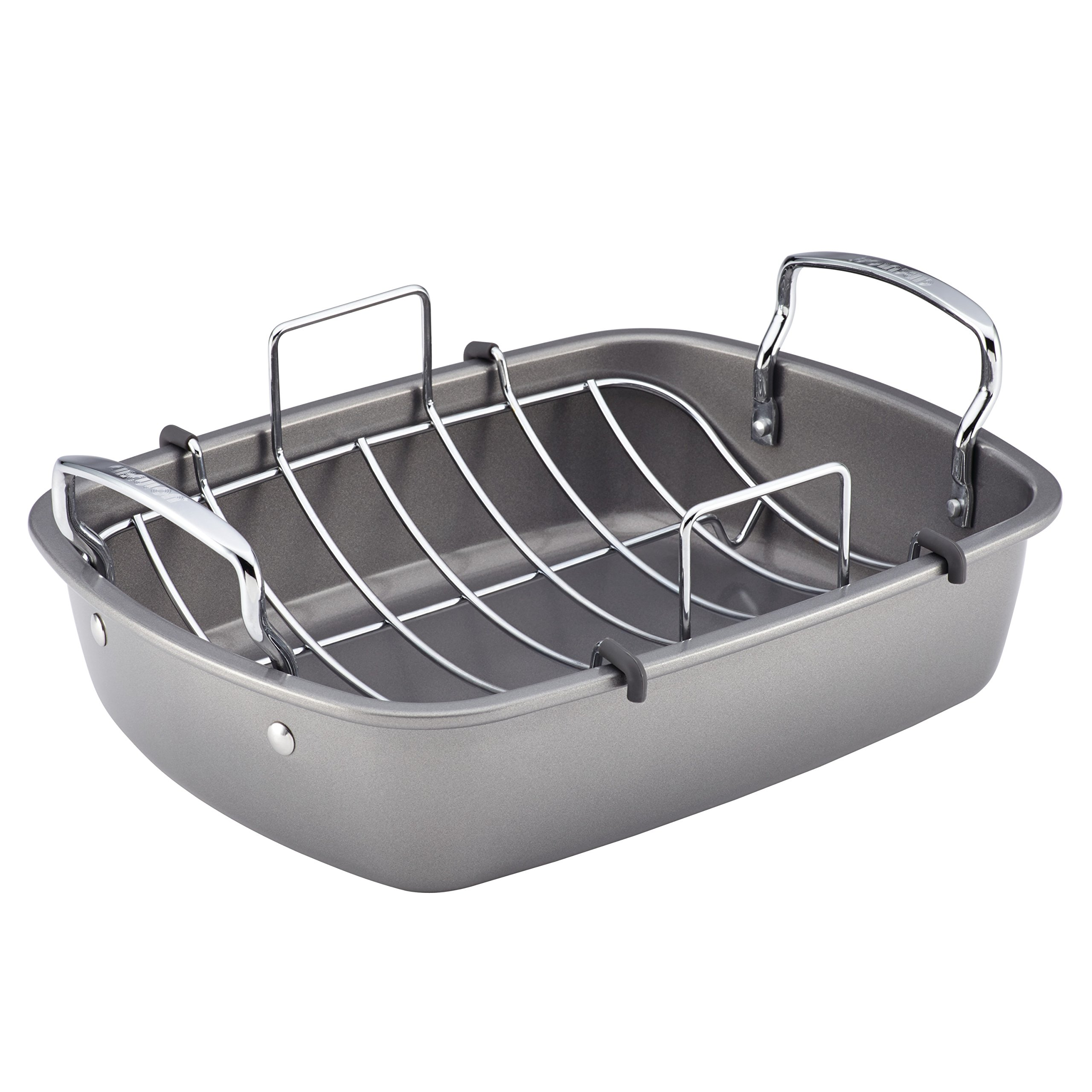 Circulon 56539 Nonstick Bakeware Roaster with U-Rack, 17''x13'', Silver by Circulon