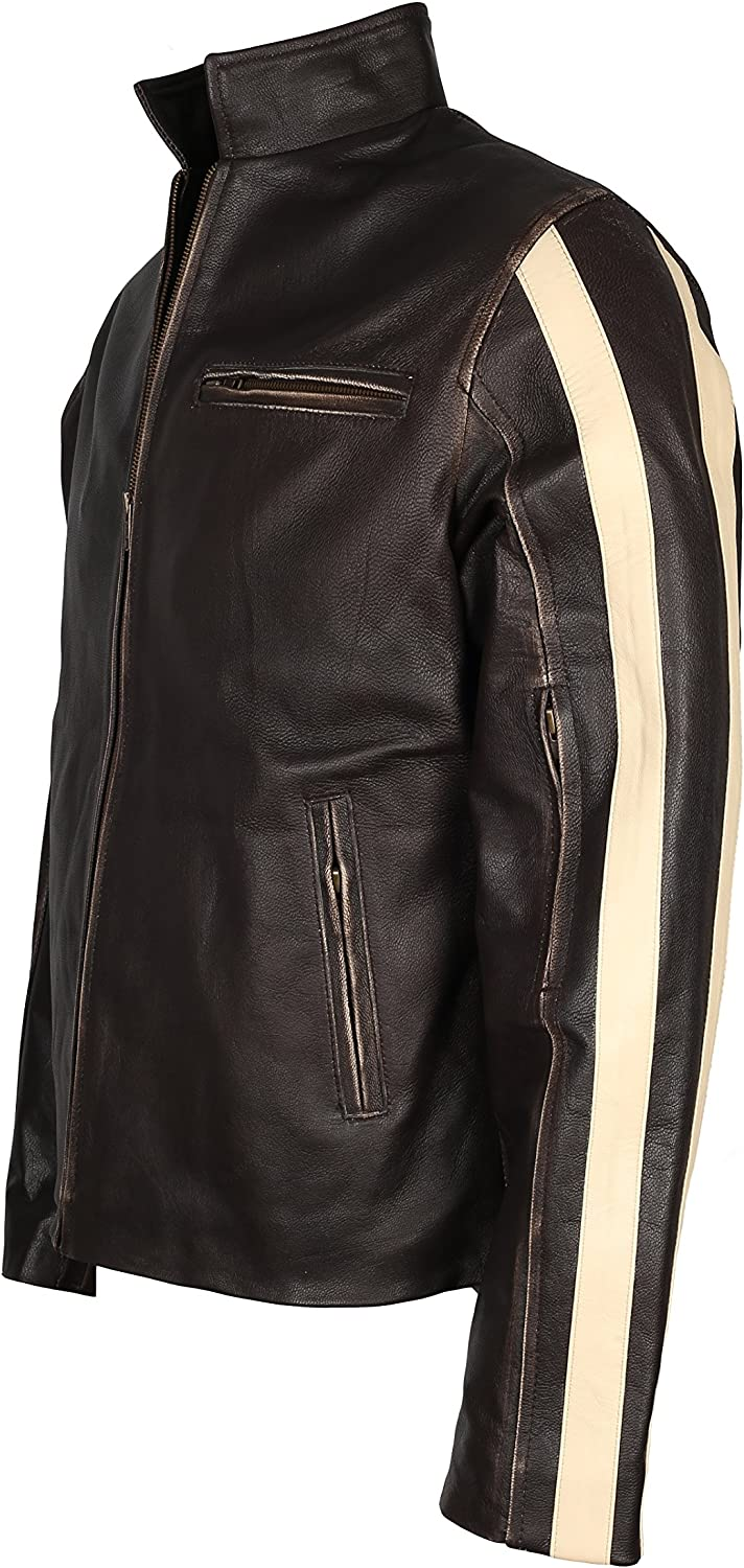 Biker Style Mens Real Leather Rough and Tough Jacket In Black