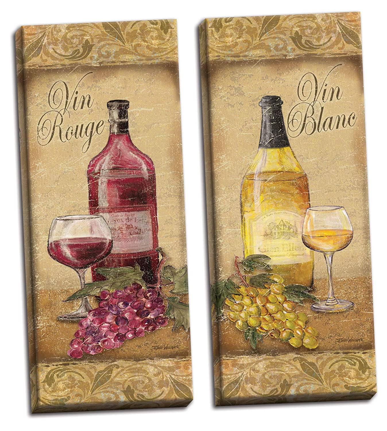 Amazon.com: 2 Vintage Tuscan White and Red Wine Bottle and Grape Set ...
