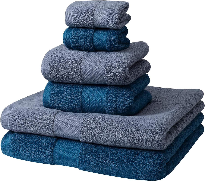 PRETTY SEE Cotton Towels Set Absorbent Bath Towels Set Cotton Bath Sheet for Bathroom, 6 Pcs