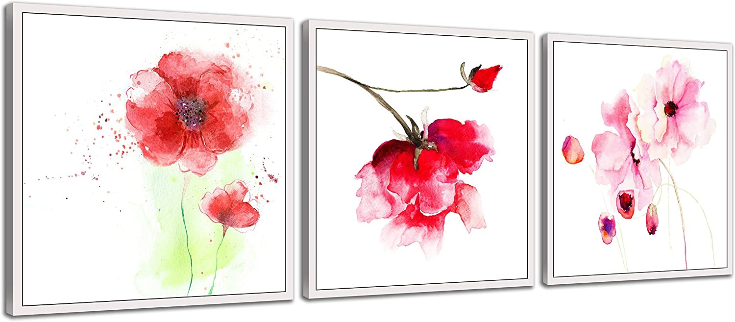 NAN Wind 3 Pcs 12X12inches Canvas Print Pink Watercolor Flower Modern Giclee Stretched and Framed Artwork for Home Decor Poppy Flowers Pictures Prints On Canvas for Wall