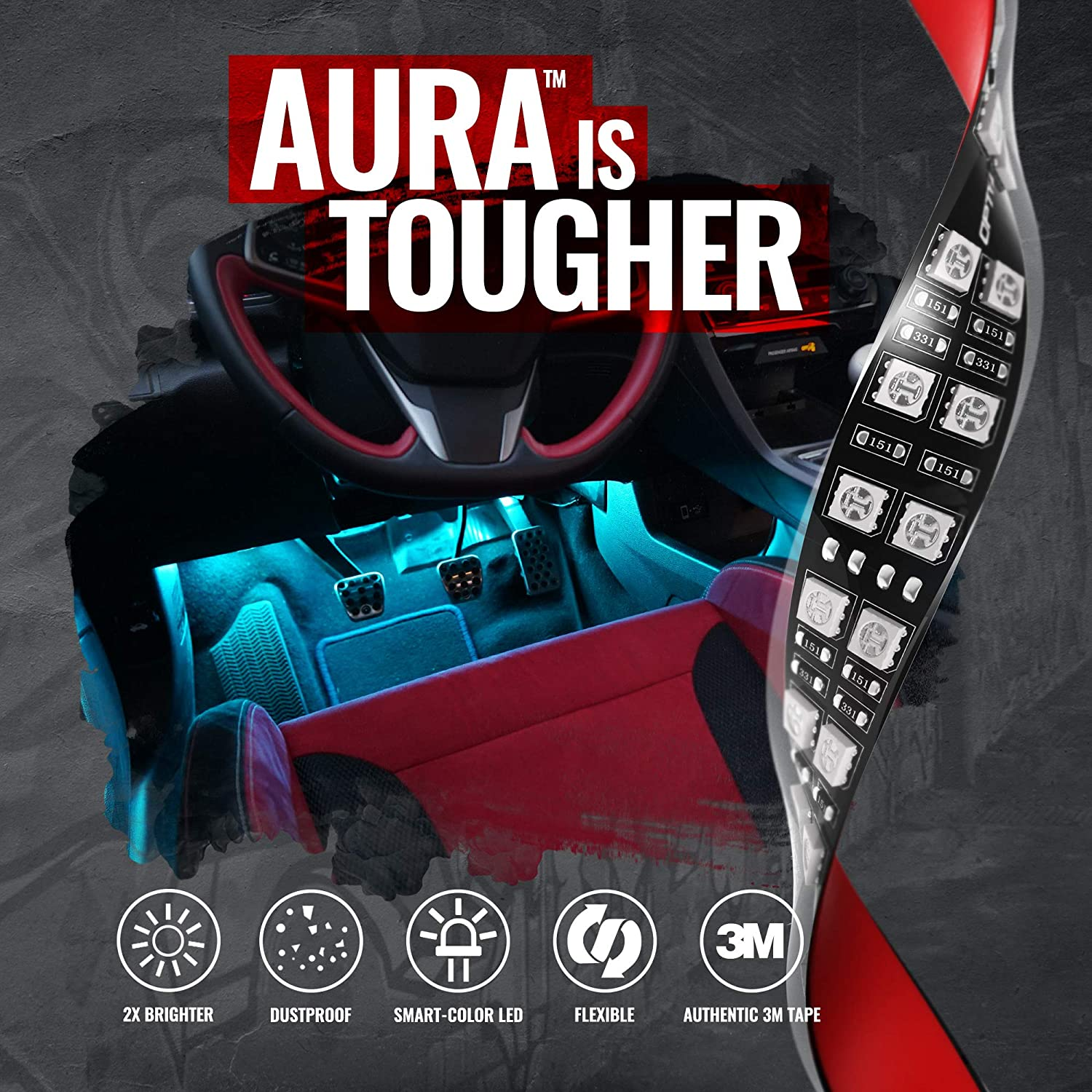 iOS /& Android 4pc App Enabled OPT7 Aura PRO Bluetooth Smart-Color LED Double Row Strip Interior Lighting Kit