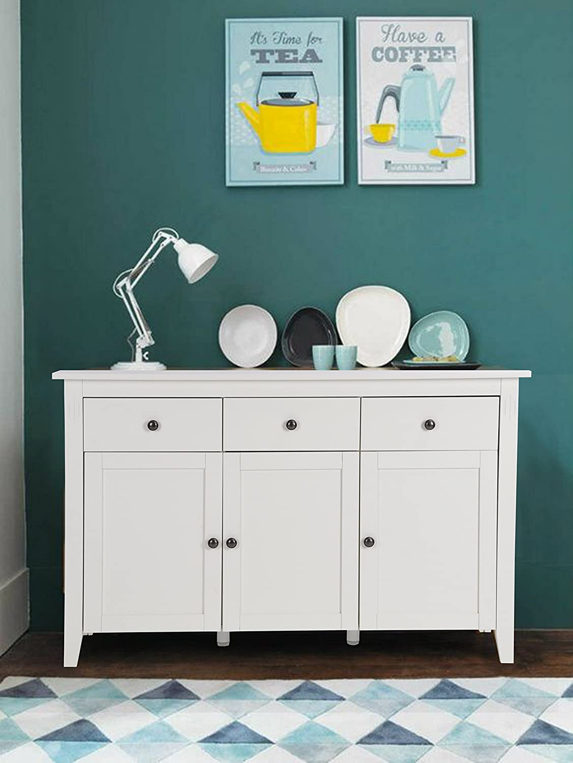 HOMY CASA Sideboard Modern Wood Storage Sideboard Cabinet Console Table with Drawers and Multiple Storage Cabinet White Homycasa