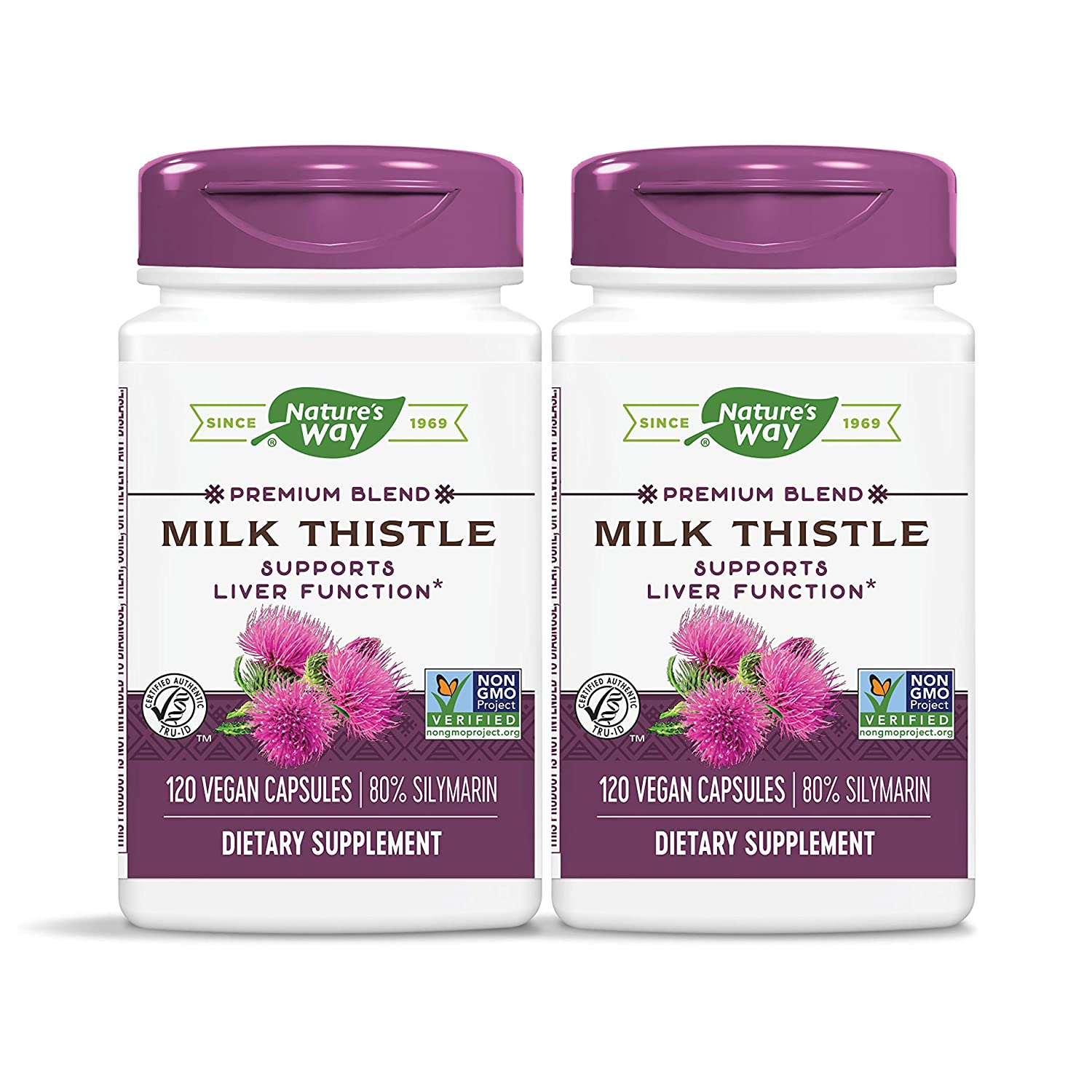 Nature s Way Standardized Milk Thistle 80 Silymarin per serving, TRU-ID Certified, Non-GMO Project Verified, Vegetarian, 120 Vegetarian Capsules, Pack of 2