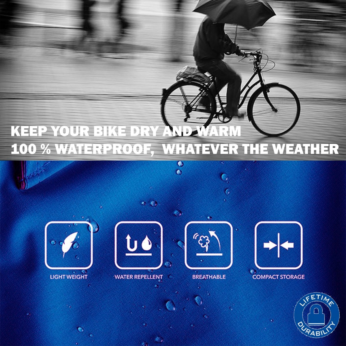 Widras Bicycle and Motorcycle Cover for Outdoor Storage Bike Heavy Duty Rip stop Material, Waterproof & Anti-UV Protection from All Weather Conditions for Mountain & Road Bikes by Widras (Image #5)