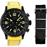 Davis -1845-NN - Montre Homme Aviateur Noire 48mm -Index Jaune - Chronographe - Etanche 50M - Bracelet Lorica Jaune + 1 Bracelet Nato Offert