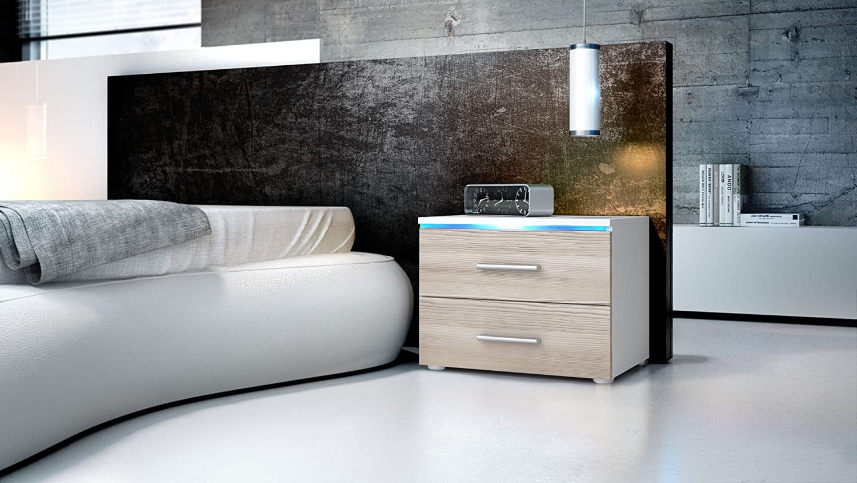 Vladon Bedroom Bedside Cabinet Faro in White matt//Avola-Champagne