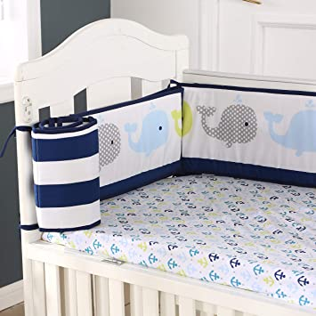 Crib Bumper Pad Navy Blue Baby Breathable Crib Bedding Infant Silky Soft 4 Piece