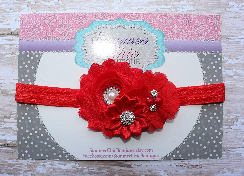 Lebo Baby Girl Red Headbands with Bows Newborn Christmas Headwear