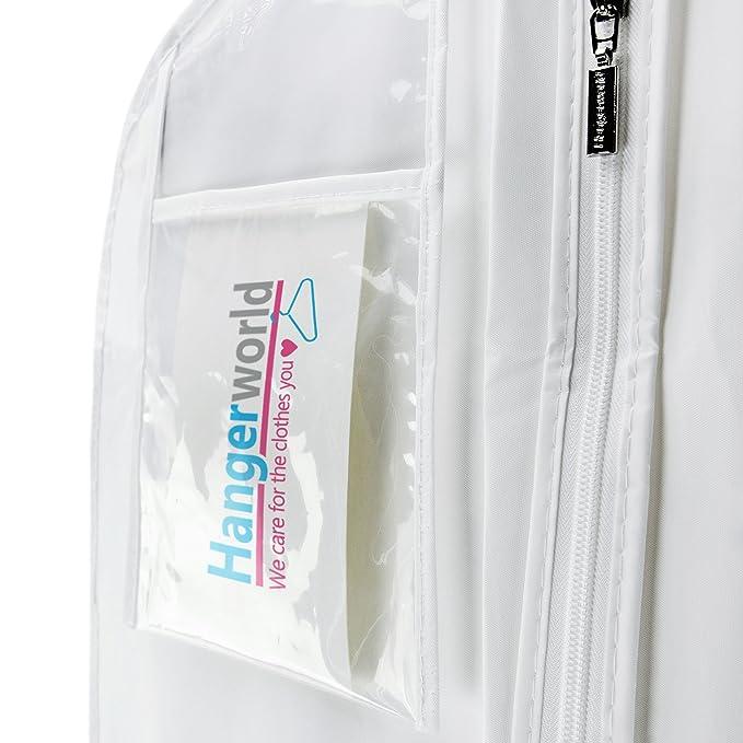 Hangerworld 3 Fundas para Traje de Novia 183cm XL Traje Flamenco Regionales Blanco Impermeable