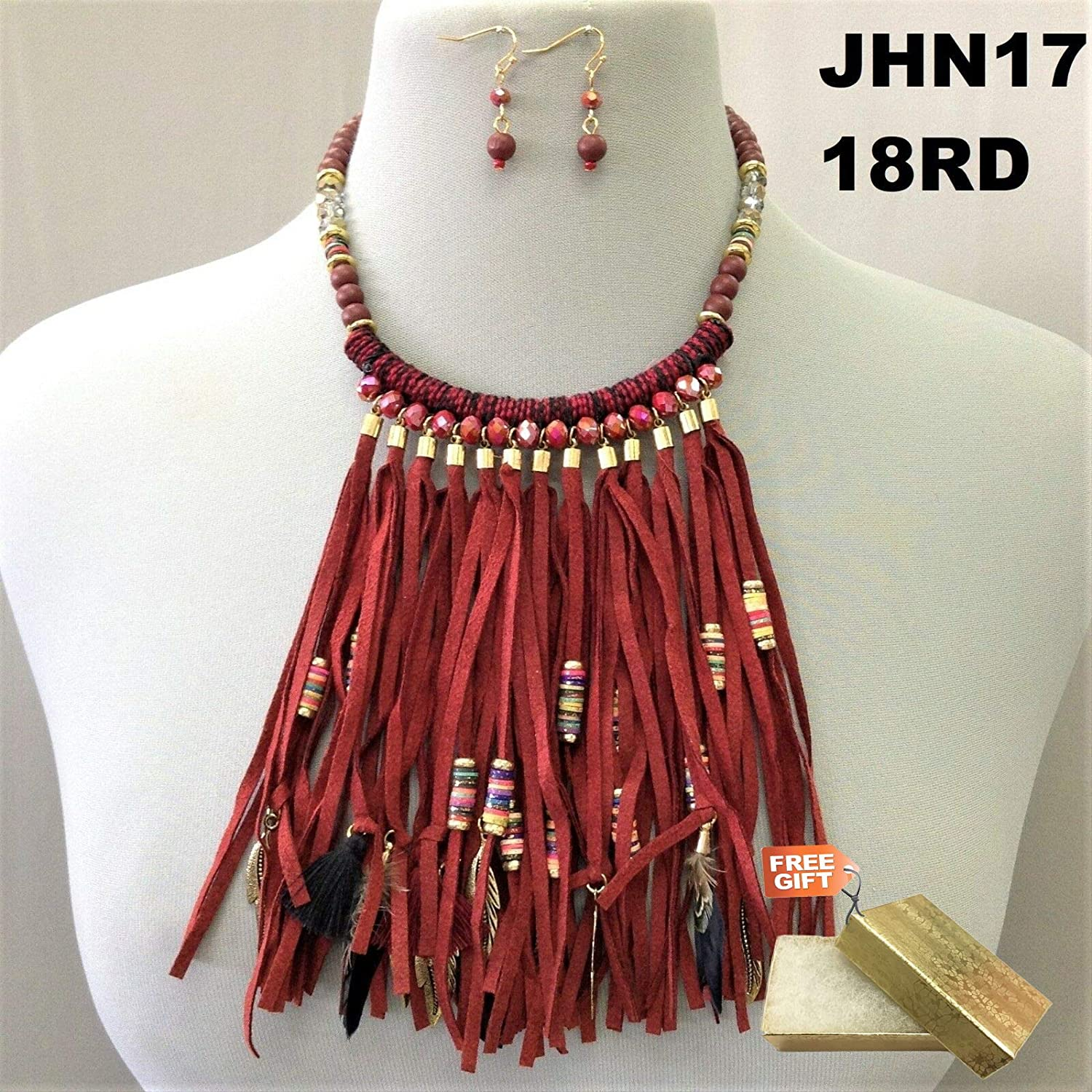Gold Cotton Filled Gift Box for Free Bohemian Style Burgundy Faux Leather Tassel Feather Beads Necklace /& Earrings Set For Women