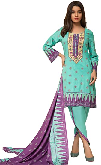 37c2f7db01 Surkhab Impressions Women's Pure Lawn Cotton Printed Pakistani Salwar Suit  Dress Material: Amazon.in: Clothing & Accessories
