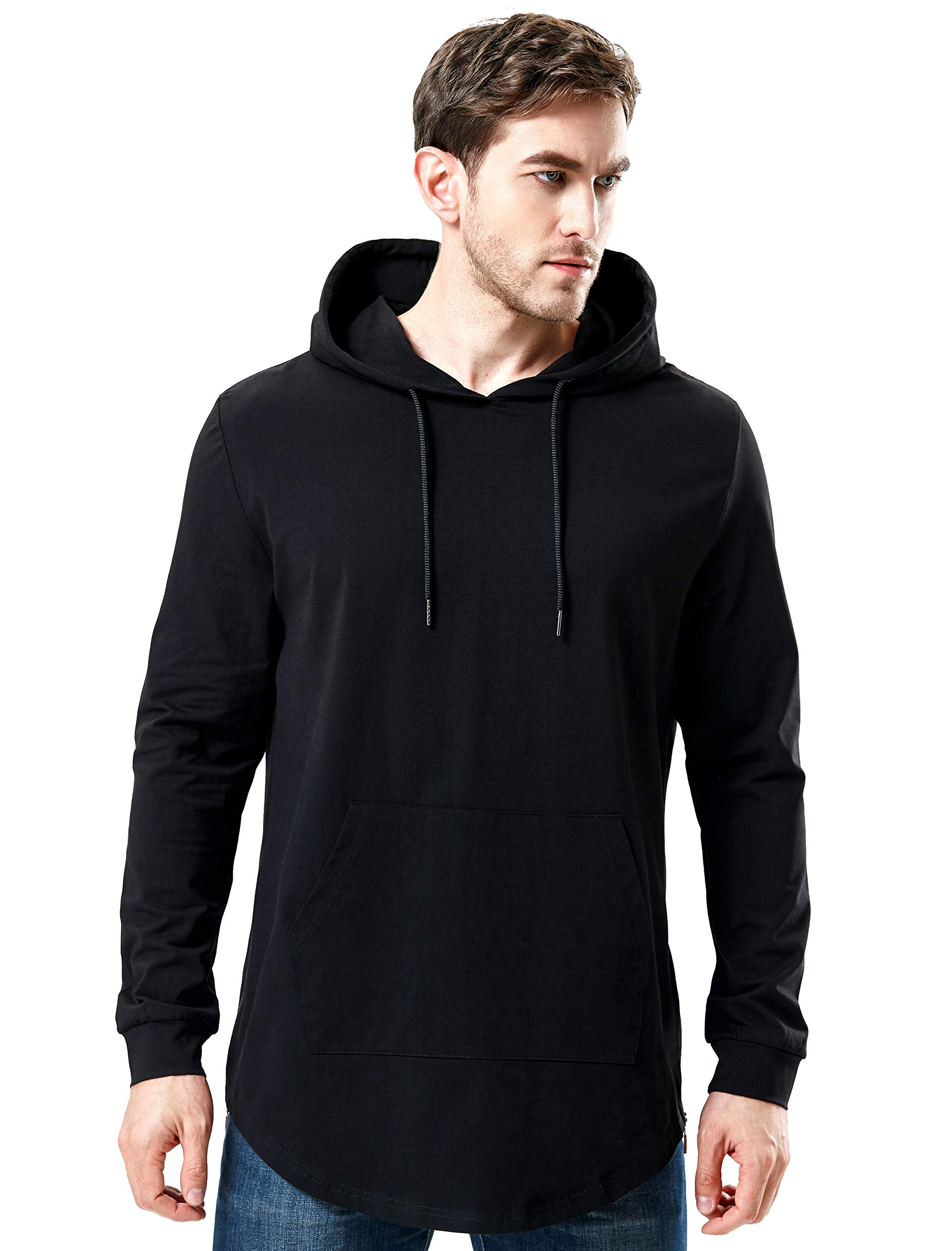 AIYINO Men/'s Hipster Hip Hop Hoodie Side Zipper Tshirt Medium Black