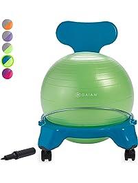 Gaiam Kids Balance Ball Chair - Classic Children's Stability Ball Chair, Child Classroom Desk Seating