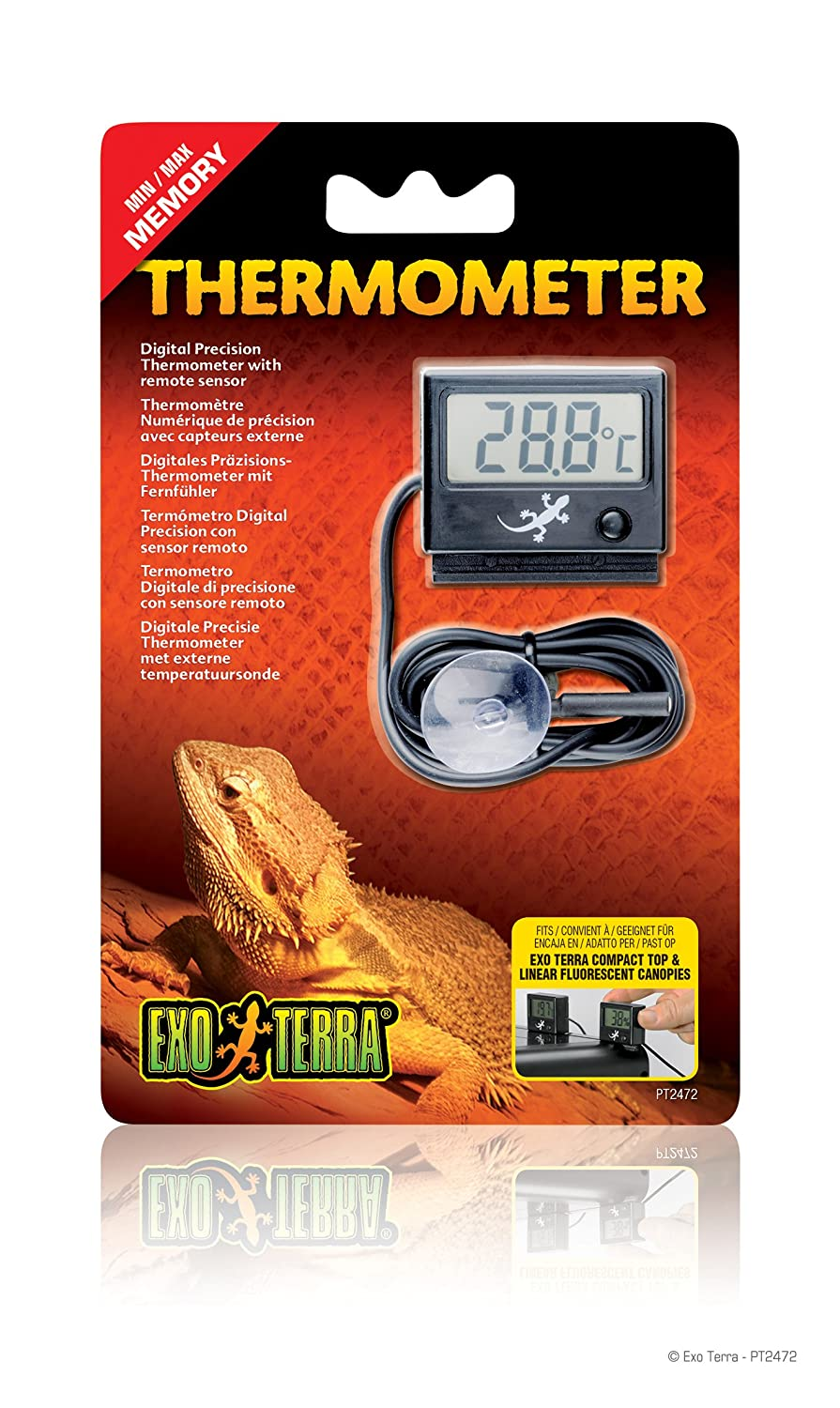 Exo Terra Digital Thermometer with Probe, Celsius and Fahrenheit PT2472