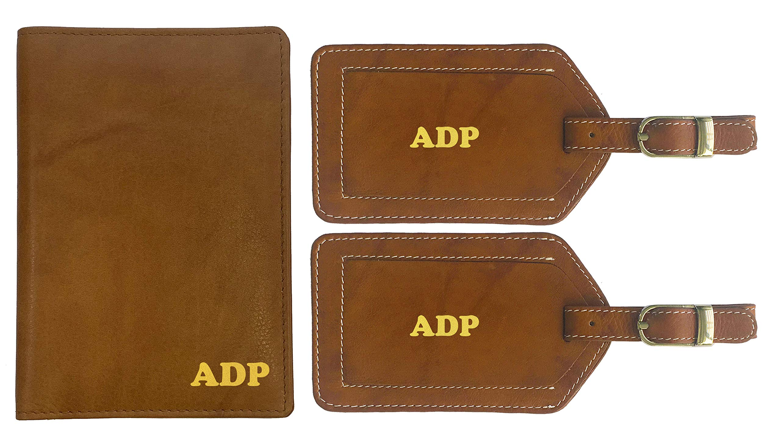 Personalized Monogrammed Antique Saddle Leather RFID Passport Wallet and 2 Luggage Tags by 123 Cheap Checks