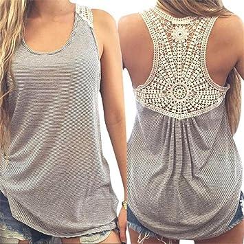 LILICAT® Camisetas sin Mangas de Encaje para Mujer, Chaleco Blusa Talla grande de Rayas