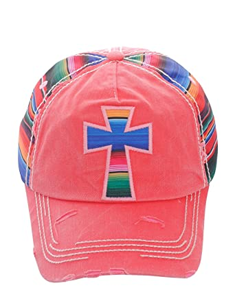 973124ecd37411 Private Label Distressed Serape Striped Cross Or Cactus Baseball Cap Hat  Adjustable (Fuchsia Cross) at Amazon Women's Clothing store: