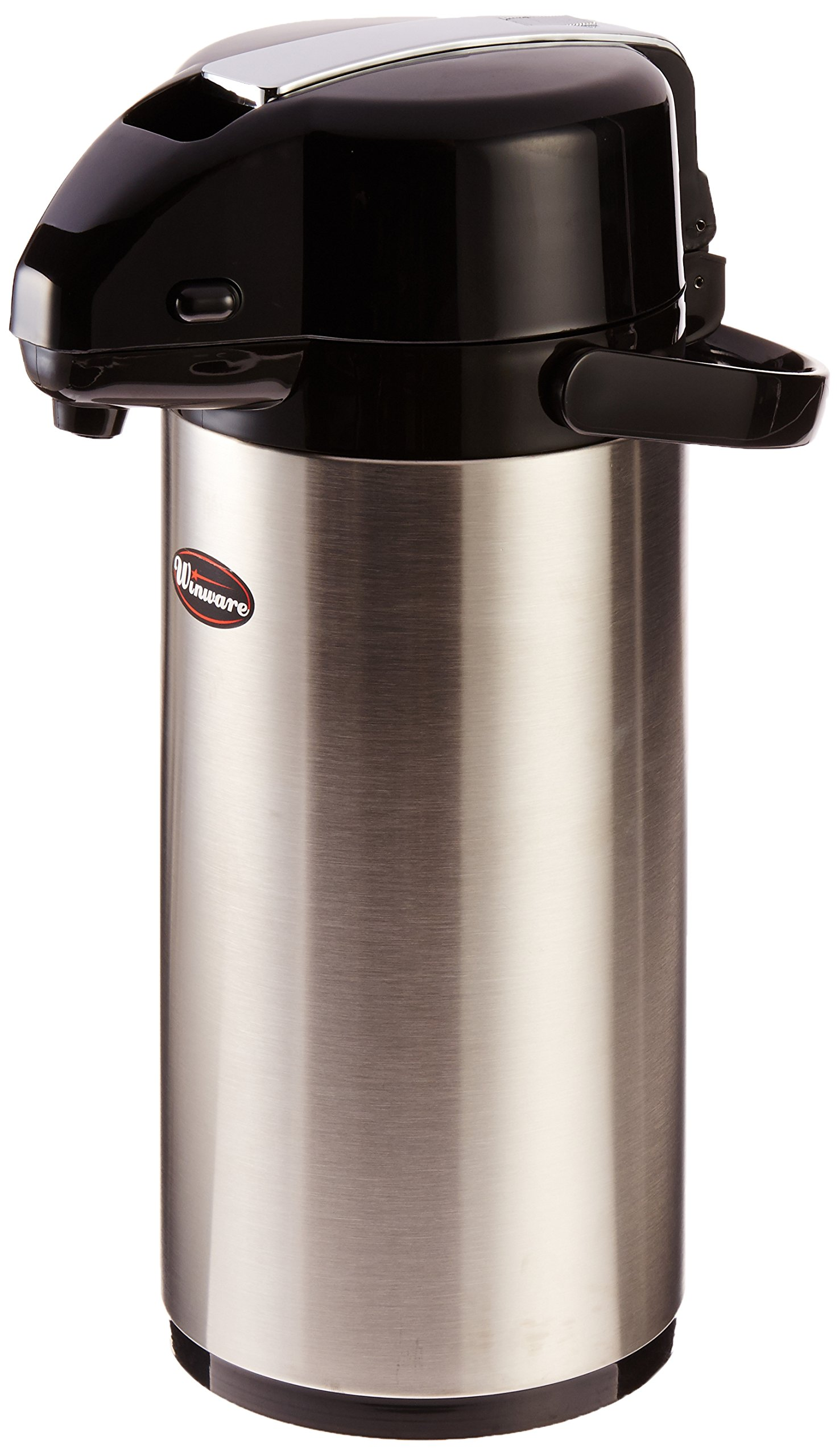 Winco Stainless Steel Lined Airpot, 2.5-Liter, Lever Top