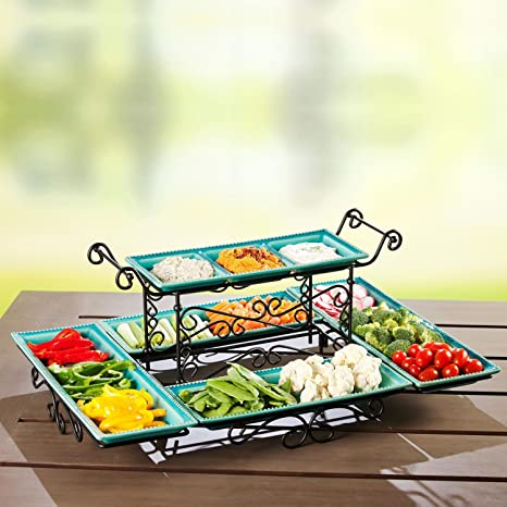 Amazon Com Gourmet Buffet Server With Steel Frame And Six Stoneware Platters Blue Kitchen Dining