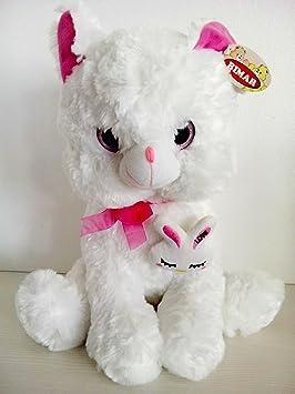 Peluche gato con ojos de cristal - 45 cms (Blanco)