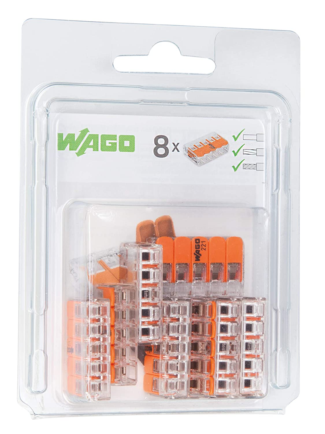 WAGO 221//412//996/016/Compact Joint Clip/ Pack of 16 /Transparent