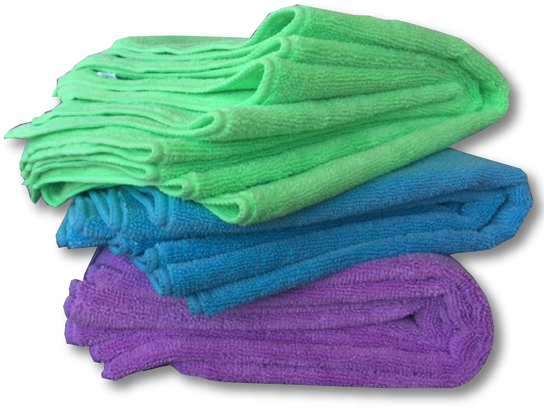 Microfibra Paños de limpieza - Juego de 12 Grande, Premium suave 16 x 16 lavar toallas - Super de grosor 350 gsm - o de pulir superficies, pantallas, ...