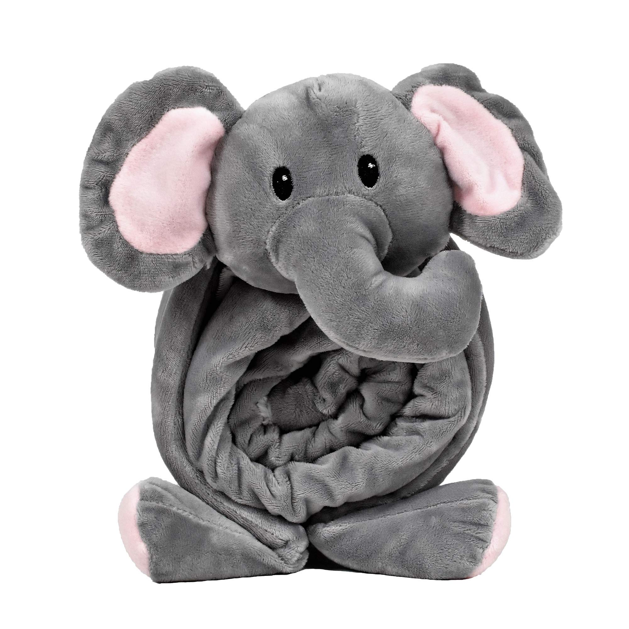 "SNUGGIES Elephant Stuffed Animal Blanket & Cuddly Pillow 2-in-1 Combo – Super Soft and Baby Elephant Blanket 37"" x 30"" and Zoo Plush Toy 14"" x 8"" – Perfect Unisex Baby Shower Gift"