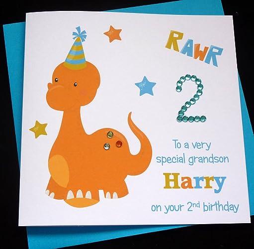 Handmade Personalised Dinosaur Childrens Birthday Card 1st 2nd