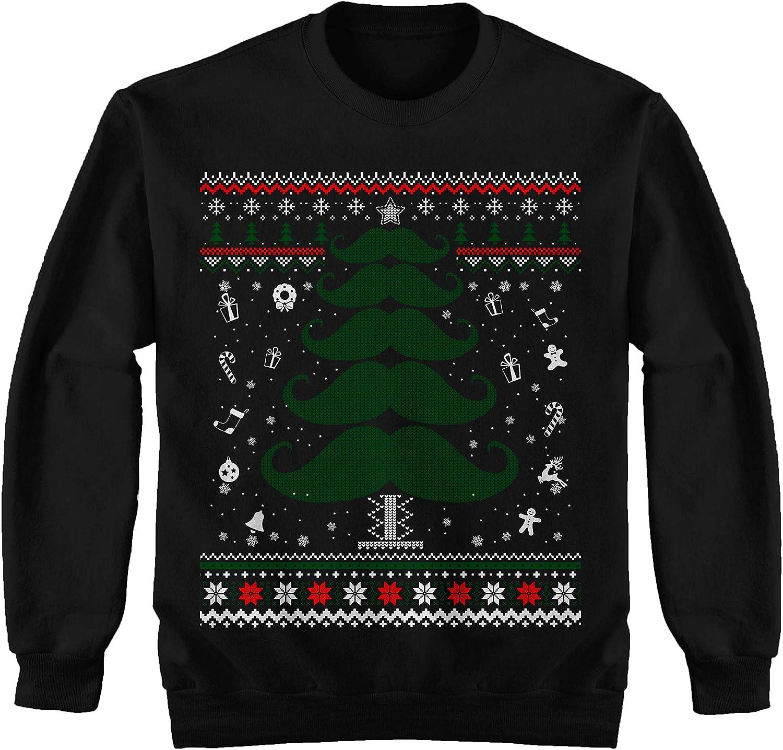 Manly Tree Beard Christmas Tree Mustache Ugly Sweater Shirt Noel Merry Xmas Sweatshirt