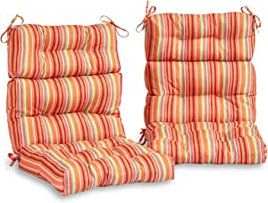 South Pine Porch AM6809S2-WATERMELON Watermelon Stripe Outdoor High Back Chair Cushion, Set of 2