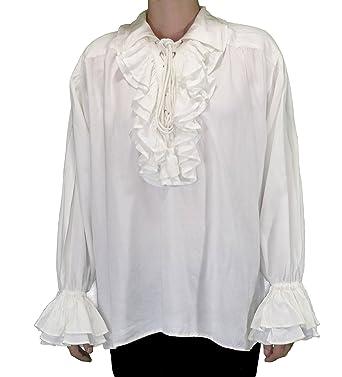 ca48bbfd Amazon.com: Captain Charles Vane Pirate Shirt - White Cotton Blend - Sizes  Small - XXX-Large: Clothing