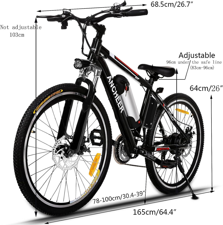 Ancheer - Bicicleta eléctrica (250 W, con batería extraíble de ...