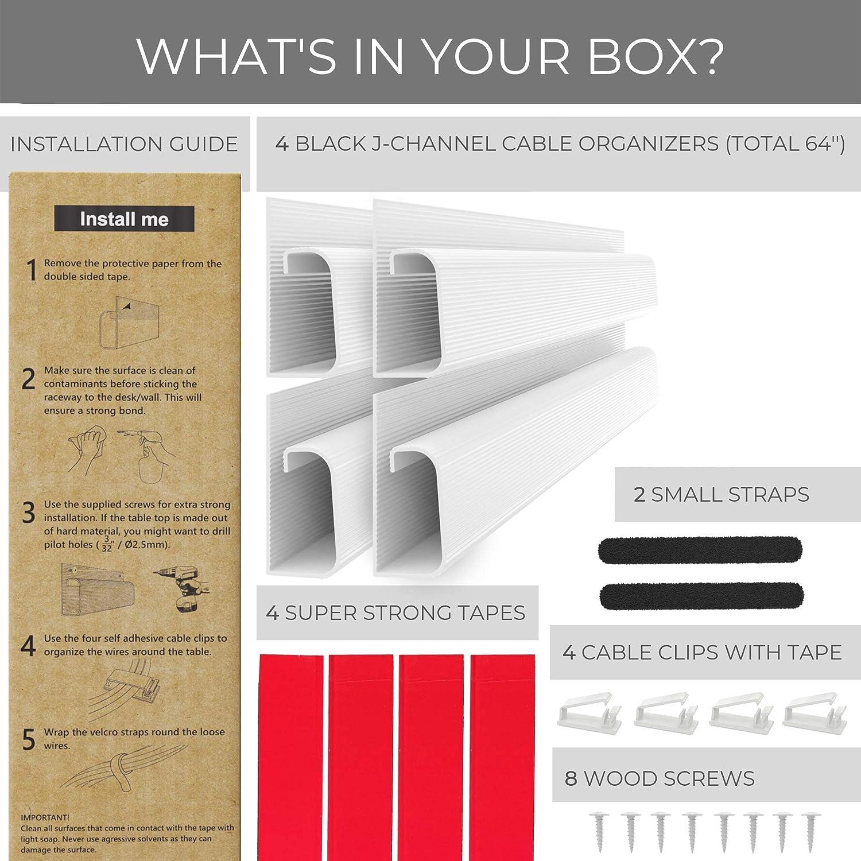 10,2 x 40,6 cm Kabelsystem f/ür Computertische Schwarz ideal f/ür B/üro und Haushalt unter dem Tisch verlaufendes Kabelf/ührungssystem ProOffice Kabelleisten