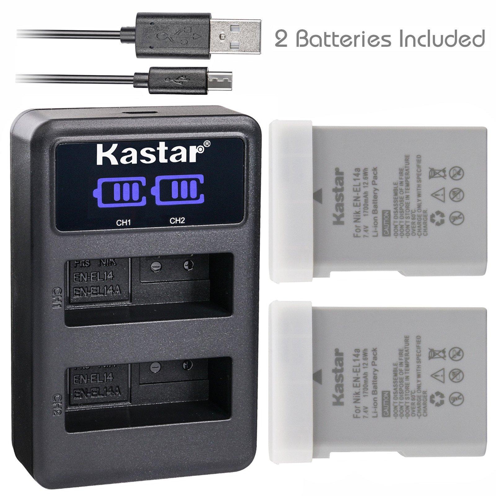 Kastar Battery X2 & LCD Dual Charger for Nikon EN-EL14a EN-EL14 EL14a and Nikon Coolpix P7000 Coolpix P7100 Coolpix P7700 Coolpix P7800 D3100 D3200 D3300 D3400 D5100 D5300 D5500 D5600 Df DSLR Camera