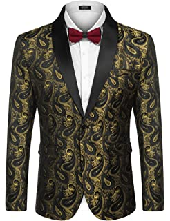 22290050af0389 COOFADNY Mens Floral Tuxedo Jacket Paisley Embroidered Suit Blazer Jacket  for Dinner,Party,Wedding
