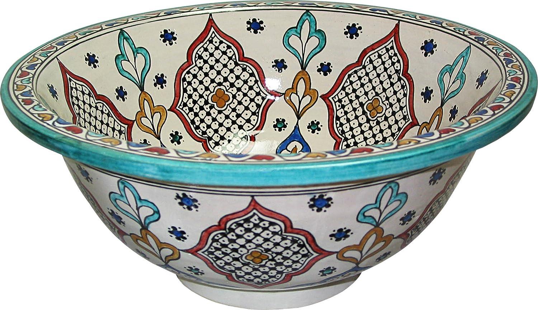 La Fes / Granada ceramica policroma dipinta a mano marocchina il lavandino del bagno lavabo - Round, dipinta da dentro a fuori - di camma 40 H 16 cm