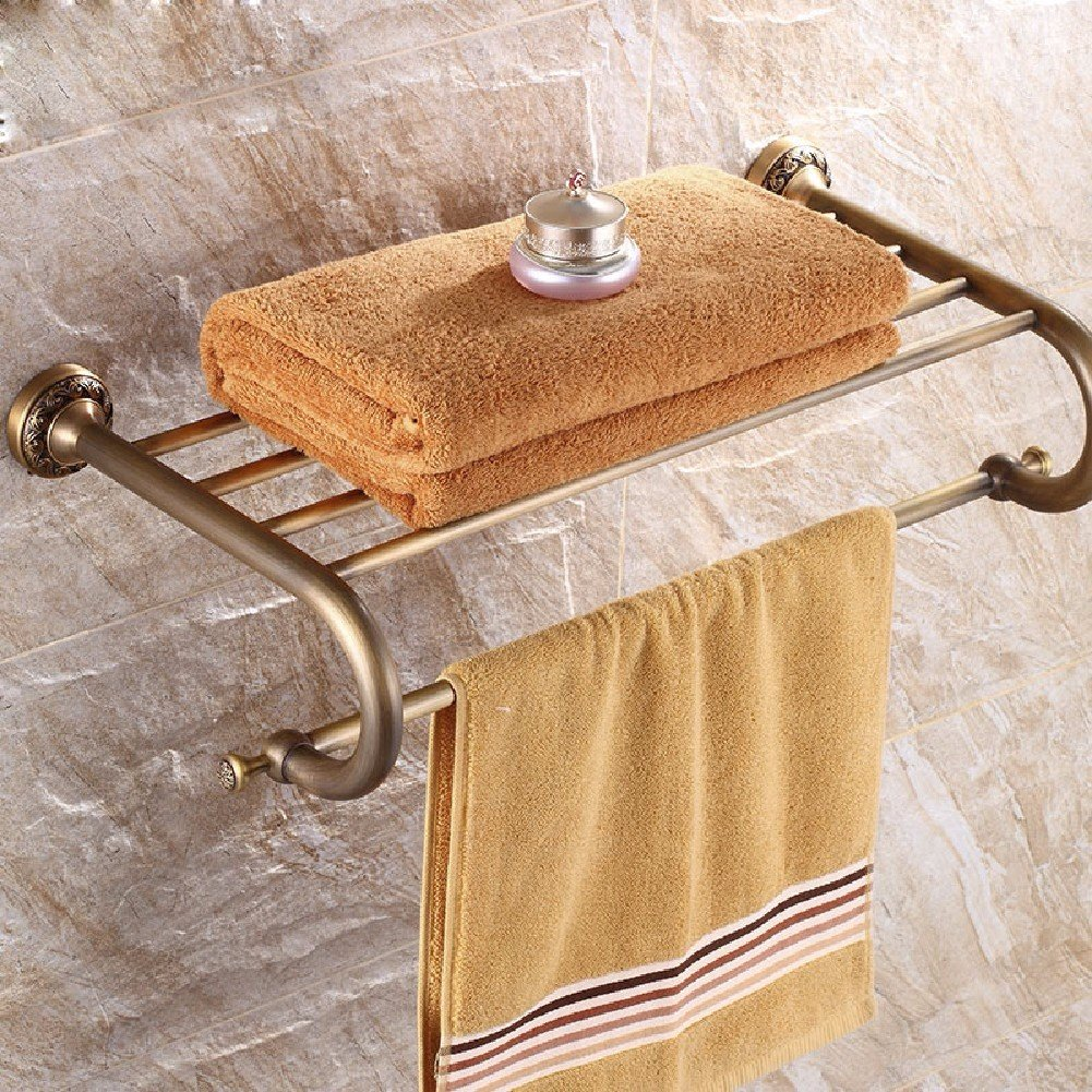 HQLCX Antique Bath Towel Bar, All Copper European Style Retro Bathroom Rack