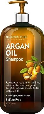 Majestic Pure Argan Oil Shampoo - Vitamin Enriched Gentle Hair Restoration