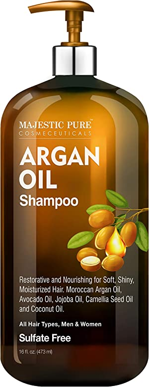 Majestic Pure Argan Oil Shampoo - Vitamin Enriched Gentle Hair Restoration Formula for Daily Use, Sulfate Free, for All Hair Types, Men and Women - 16 fl. oz.
