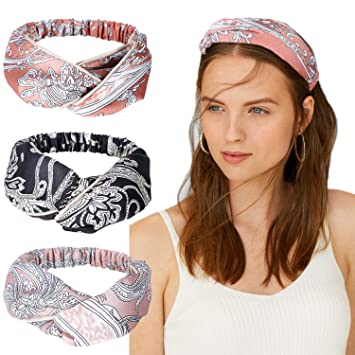 Amazon.com   TAIHA 10 Pack Boho Headbands for Women Vintage Flower Printed  Criss Cross Elastic Head Wrap Twisted Cute Hair Accessories (C  6 Pack  (Paisley ... 96cd3e65fc2