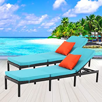 HTTH 2-Piece Rattan Lounge Chair Set