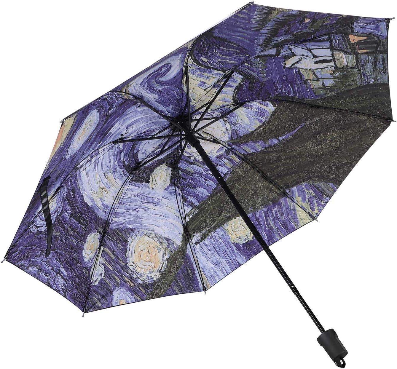 Windproof Parasol Rain Umbrella,Anti-UV Foldable Portable Oil Painting Cooling Umbrella for Travel Beach Sun Umbrella,ITODA UPF 50