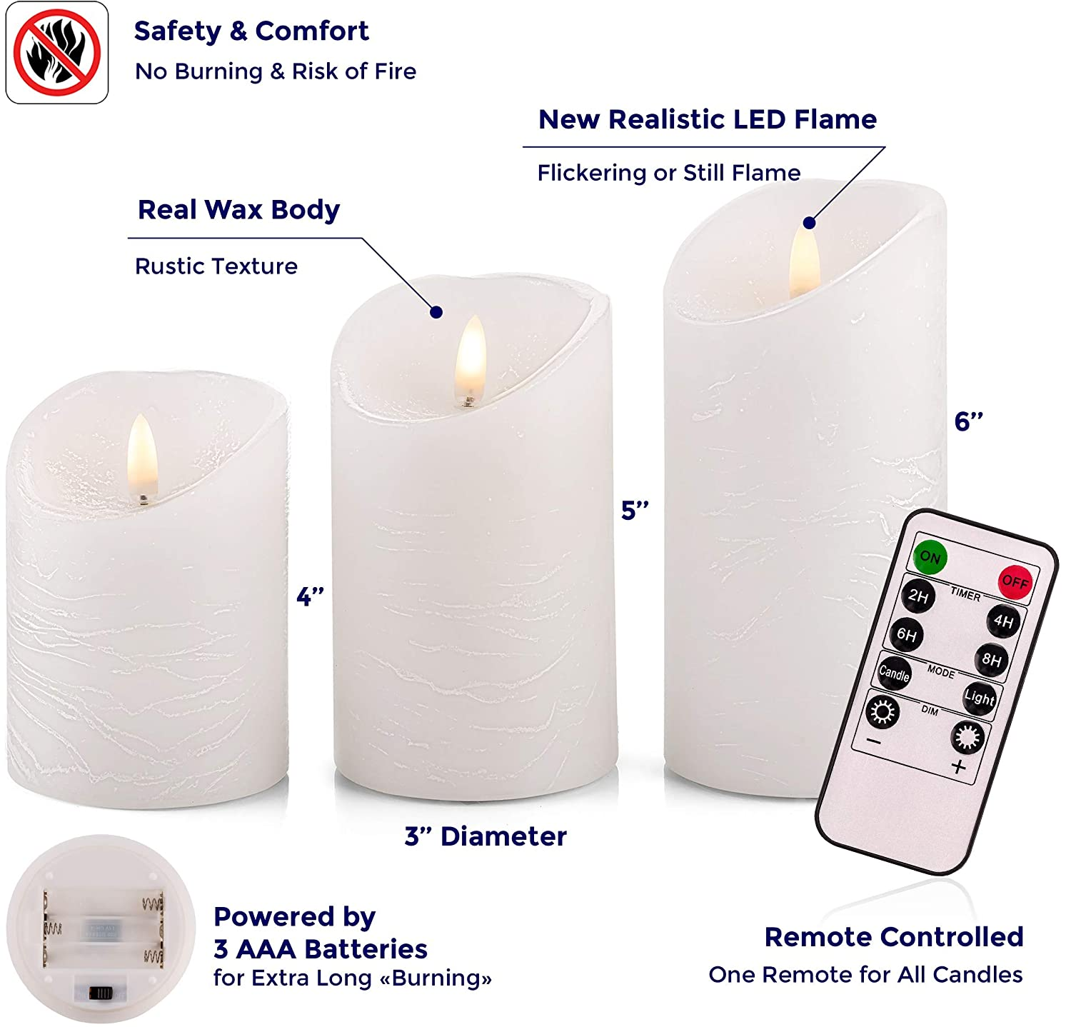 Venta Set of 3 Realistic Flameless Ivory LED Candles with Remote Control 4 5 6 Electric Wickless Pillar Battery Operated Candles with Flickering Flame Timer