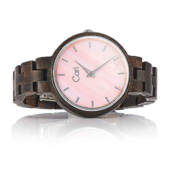 fdb88fa38aeab4 Cari Damen Frauen Holzuhr mit Schweizer Uhrwerk - Holz-Armbanduhr Kyoto-091