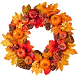 Fall Wreath Front Door Wreath with Maple Leaf,Pumpkin, Pine Cone,Berries Garland Harvest Wreath for Halloween and…